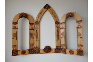 Triple crystal mirror and unique painted frame