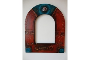 Crystal mirror and unique hand painted frame
