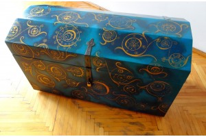 """Lapis Lazuli"" Unique, hand painted metal banded wood trunk"