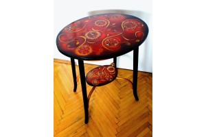 """Red"" Unique, reconditioned, hand painted table"