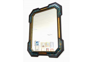 Crystal mirror with painted frame