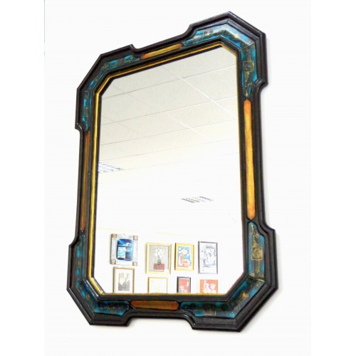 Crystal mirror with unique hand painted frame