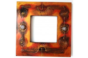 Crystal mirror and original hand painted frame, 35cm X 35 cm