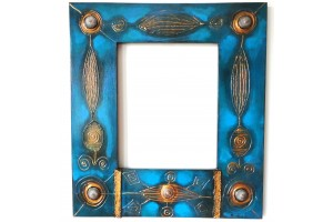 Crystal mirror and original hand painted frame, 55cm X 45 cm