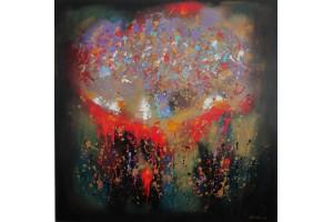 "Felix Albus ""Universum splash"" Acrylic on canvas, 100cm X 100cm, 2018"