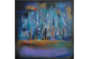 "Felix Albus, ""Stellar Cascade"", Acrylic on canvas, 80cm X 80cm, 2018"