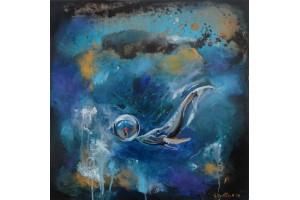 "Felix Albus  ""Deep in my dream""  50cm X 50cm, Acrylic on canvas, 2019"