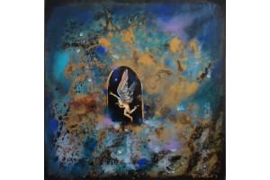 "Felix Albus  ""Follow me in the Infinit""  50cm X 50cm, Acrylic on canvas, 2019"