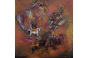 "Felix Albus  ""Take me higher""  50cm X 50cm, Acrylic on canvas, 2019"