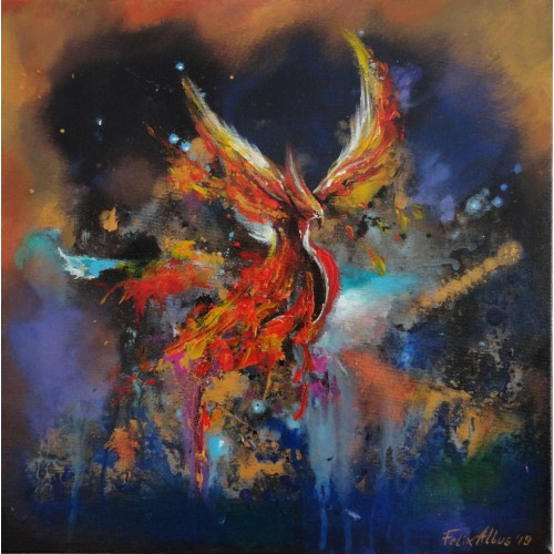"Felix Albus  ""Wings of change""  40cm X 40cm, Acrylic on canvas, 2019"