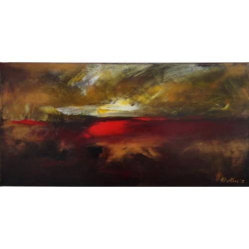 """Felix Albus  """"Sleeping sun""""  60cm X 30cm, Acrylic on canvas, 2019"""