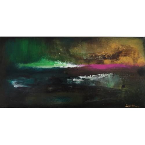 "Felix Albus  ""Escaping the day""  60cm X 30cm, Acrylic on canvas, 2019"