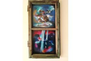 "Felix Albus "" Limited infinities"" (75cm X 42cm X 3cm) Acrylic on old wood window frame, 2020"
