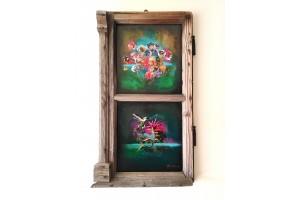 "Felix Albus """"The expansion of life (67cm X 37cm X 3cm) Acrylic on old wood window frame, 2020"