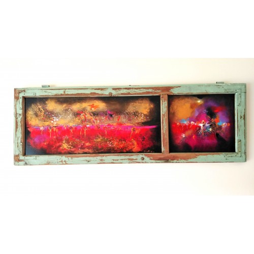 "Felix Albus ""Let's explore this land"" (110cm X 37cm X 3cm) Acrylic on old wood window frame, 2020"