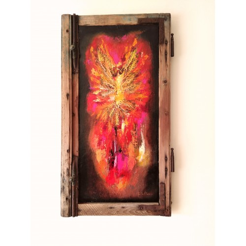 "Felix Albus ""Phoenix is just a moment of Infinity"" (68cm X 37cm X 3cm) Acrylic on old wood window frame, 2020"