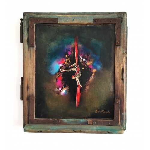 "Felix Albus ""Dancing in abyss"" (39cm X 34cm X 3cm) Acrylic on old wood window frame, 2020"