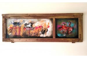 "Felix Albus ""Run from the dust of time"" (110cm X 37cm X 3cm) Acrylic on old wood window frame, 2020"