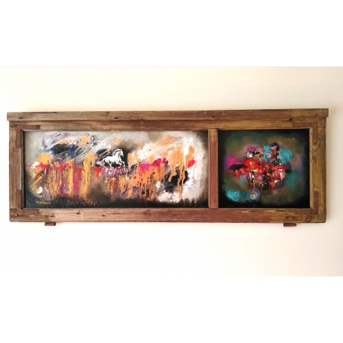 "Felix Albus ""Run from the dust of time"" (110cm X 37cm X 3cm) Acrylic on old wood window frame, 2020"