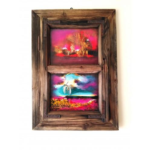 "Felix Albus ""Gravity, let me get up (68cm X 48cm X 4cm) Acrylic on old wood window frame, 2020"