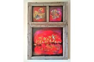 "Felix Albus ""Infinity allows me to explore you""(125cm X 80cm X 10cm) Acrylic on old wood window frame, 2020"