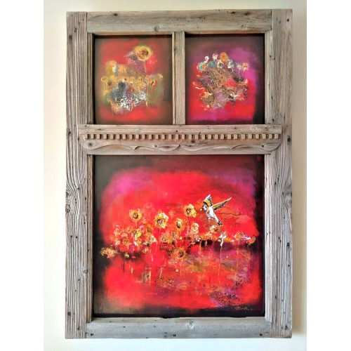 "Felix Albus ""Infinity allows me to explore you""(125cm X 80cm X 10cm) Acrylic on old wood window frame, 2020"
